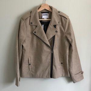 Noisy May // Wool Blend Lined Moto Coat in Oatmeal